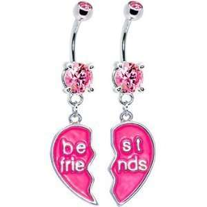 Pleasing Pink Cubic Zirconia Best Friends Pink Heart Dangle Belly