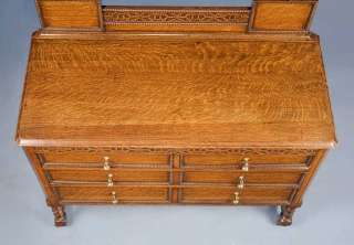 English Oak Antique Dressing Table on Barley Twist Legs