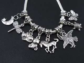 Wholesale 120pcs tibetan silver mix animal dangle beads fit charm
