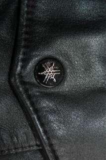 Yamaha Leather Jacket Motorcycle Vintage Cafe Racer Black Excellent