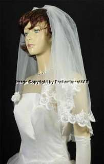 WHITE BRIDAL WEDDING VEIL EMBROIDERED ELBOW LACE 52
