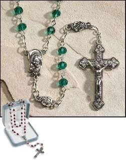 IRISH ROSE Emerald Green Crystal Rosary Rose Our Father Beads Gift box
