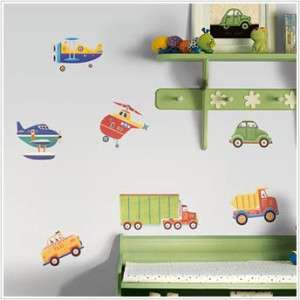 26 New CARS TRUCKS PLANES WALL DECALS Transportation Stickers Boys