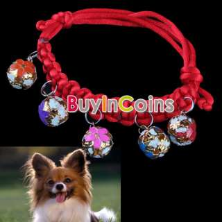 New Pet Dog Cat Puppy Collar Adjustable Neck Strap 5 Small Bells