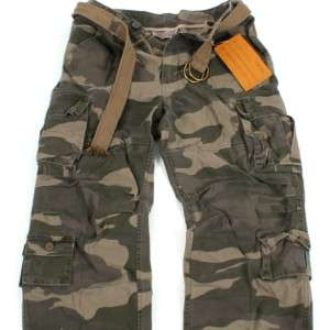 MENS VINTAGE CARGO Belted PANTS P037 Military Multi