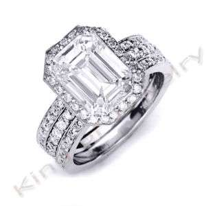 92 Ct. Emerald Cut Diamond Ring Band Bridal Set
