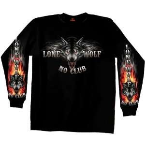 Hot Leathers Black XX Large Lone Wolf No Club Biker Long Sleeve Double