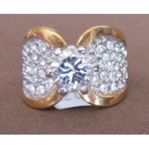 SIZE 7 Ladies FASHION Cocktail RING w 18 KGE Gold Plate BAND w Round