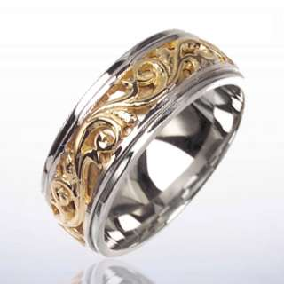 14K 2 TWO TONE GOLD MENS WEDDING BAND VICTORIAN DESIGN