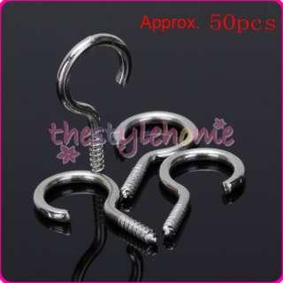 Silver Screw Hook Eye House Curtain Net Wire Metal Cup Hook