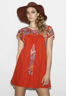 70s RED Mexican EMBROIDERED Oaxacan Hippie Boho Festival Mini DRESS S