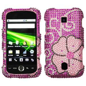 Huawei Ascend M860 Hard Case Phone Cover Pink Blooming Bling