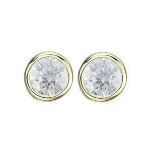14K Yellow Gold Bezel Set 5 MM Natural White Topaz Earring