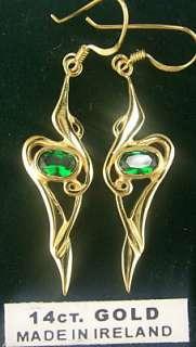 14K Yellow Gold Sterling Silver Emerald Celtic Dangle Earrings Irish
