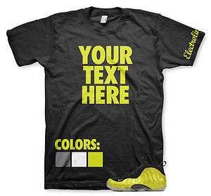 Custom Electrolime Foamposite T Shirt Nike Jordan Lebron 1 2 3 4 5 6 7