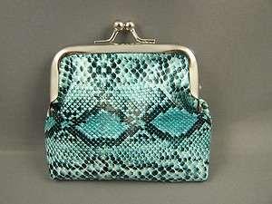 Aqua black python snake print faux leather coin change purse kiss lock