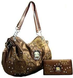 Licensed Betty Boop Western Rhinestone Sutd Purse Bag Wallet SET