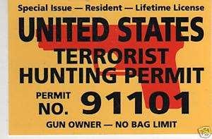 UNITED STATES TERRORIST HUNTING PERMIT BUMPER STICKER