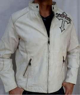 Affliction LIVE FAST Mens Biker Leather Jacket   NEW   A885 White