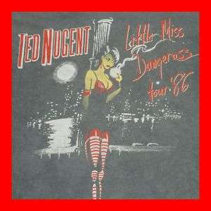 1986 TED NUGENT FADED WORN VTG TOUR T SHIRT CONERT 80s