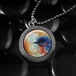 Blue Song Bird Nature Round Antique Silver Pendant Necklace 502 RFS