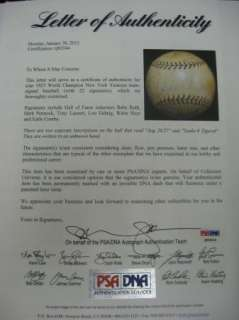 Yankees *Babe Ruth Lou Gehrig PSA/DNA Team Autograph Baseball