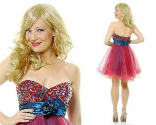 Teal Multi Color Cocktail Short Formal Prom Dress with Flower   Size 8