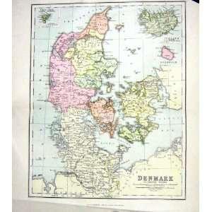 CHAMBERS ANTIQUE MAP c1906 DENMARK ICELAND BORNHOLM KIEL