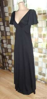 70s Grecian Maxi Dress Sexy Deep Plunge Flutter Sleeves Disco Prom S/M