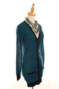 AUTH French Sonia Rykiel Striped Long Sleeves Wool Cardigan Sweater