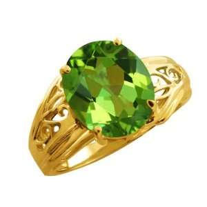 4.15 Ct Oval Envy Green Mystic Quartz 14k Yellow Gold Ring