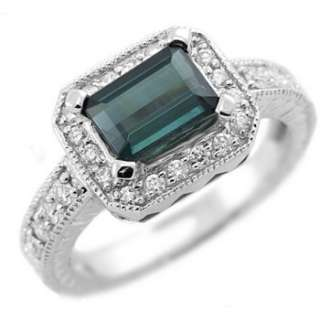 BLUE TOURMALINE DIAMOND 14K WHITE GOLD ENGAGEMENT RING VINTAGE ANTIQUE