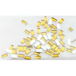 Zink Color Nail Art Acrylic Rhinestone Yellow Rectangle