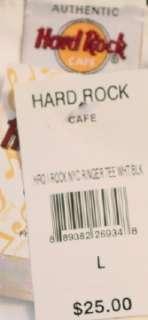 Hard Rock Cafe I (ROCK) NEW YORK White TEE SHIRT Lg.