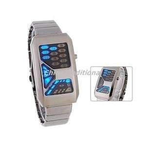 Square Dial Steel Band LED Men Boys Casual Watch Dark Grey