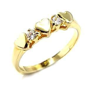 Womens Young Line Clear Cubic Zirconia Gold Tone Ring, Jewelry