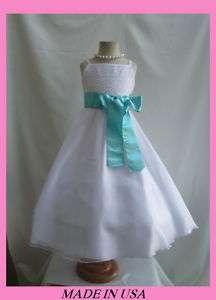 NEW WHITE AQUA/POOL BLUE WEDDING FLOWER GIRL DRESSES