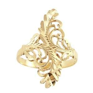 Leaf Ring Design Band 14k Yellow Gold Fashion Anniversary