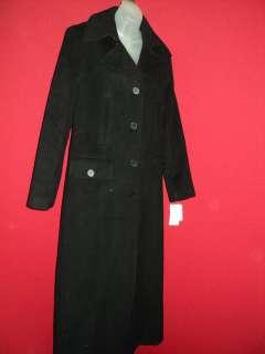 CALVIN KLEIN Black Full Length Soft Cashmere Blend Satin Lined Coat