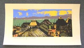 TADASHI NAKAYAMA Japanese Woodblock Print SEA VILLAGE