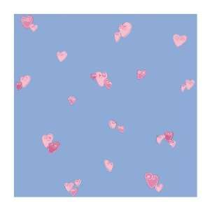 Wallcoverings PW4036 Girl Power 2 Heart Wallpaper, Bright Blue/Pink