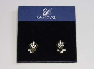 NEW SWAROVSKI EARRINGS TRENDY SHINY GOLD HEARTS W/CRYSTALS/RHINESTONES
