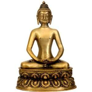 Buddha in Dhyana Mudra   Brass Sculpture Home & Kitchen