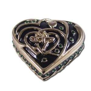 Heart Celtic Jewelry Box Enameled pewter box bejeweled