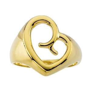 14K Yellow Gold 13 MM Mothers Love Heart Ring Katarina Jewelry