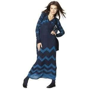 Blue Chevron Long Cardigan Open Sweater   Medium