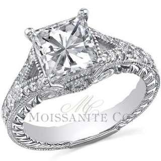 Shank Square Brilliant Moissanite Engagement Ring 1.40ctw [eng483