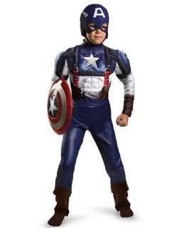 Boys Classic Muscle Captain America Movie Costume 039897286679
