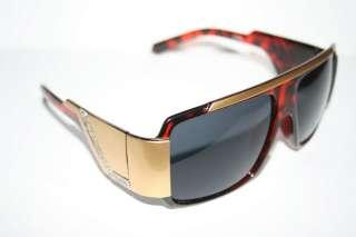 Sunglasses Super Shades Brown Gold Frame 80s Retro Flattop Stunna New