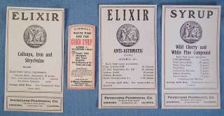 FOUR ca 1900 QUACK MED LABELS, STRYCHNINE, CHLOROFORM